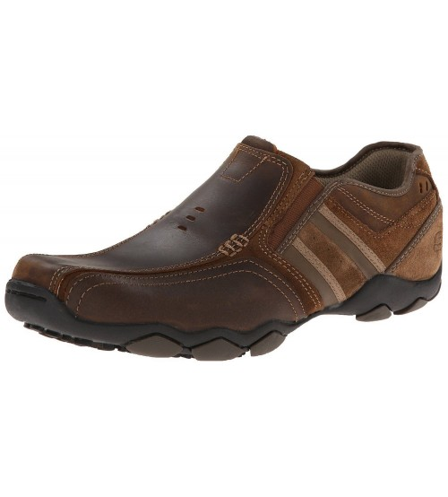 Skechers Diameter Zinory Dark Brown Mens Leather Slip Ons Shoes