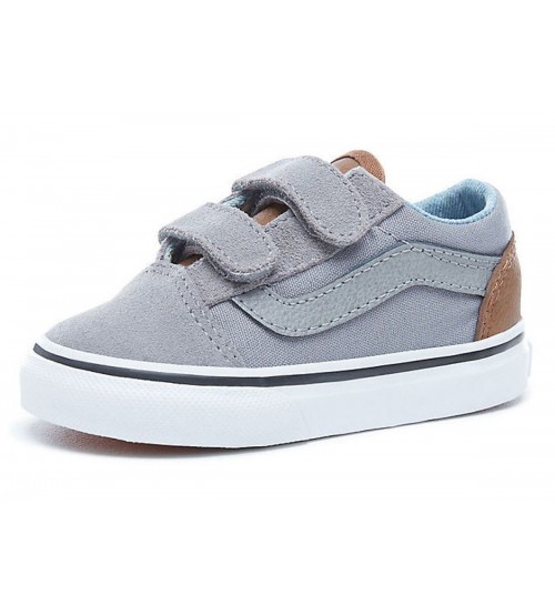 e689c5df7af9 Vans Old Skool V Grey Brown Suede Toddlers Trainers Shoes