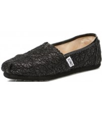 Toms Classic Black Crochet Glitter Youth Espadrilles Shoes