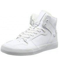 Supra Vaider White Red Mens Leather Skate Trainers
