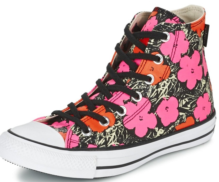 Converse Poppy Red Pink White Hi Womens Trainers - Pink Floral - 3
