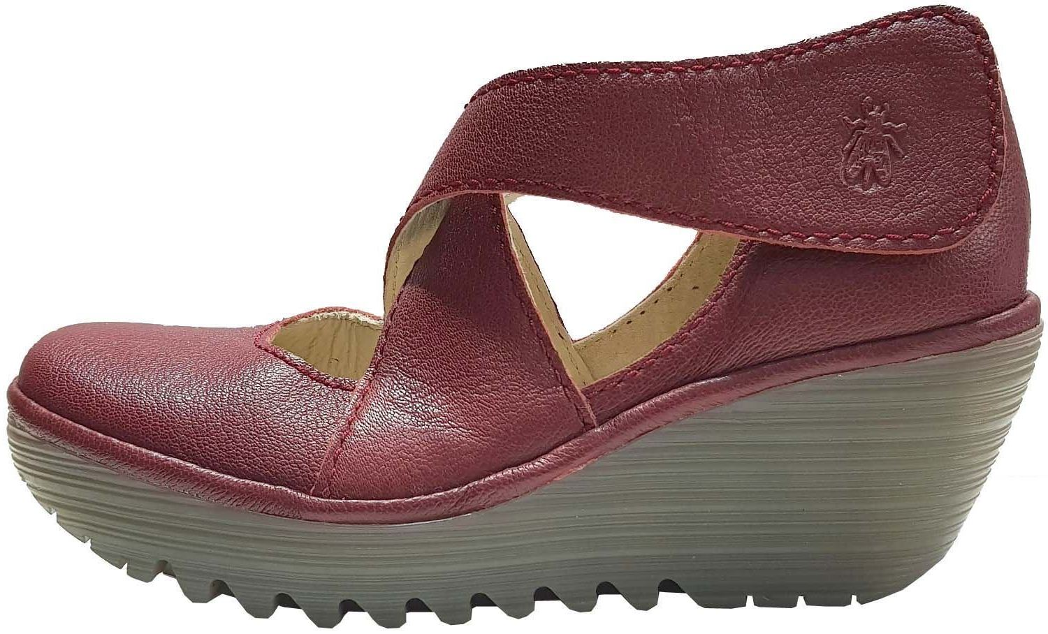 28aef8ddb2f2 Fly london Yogo Red Womens Leather Cross Bar Wedge Shoes Quick View