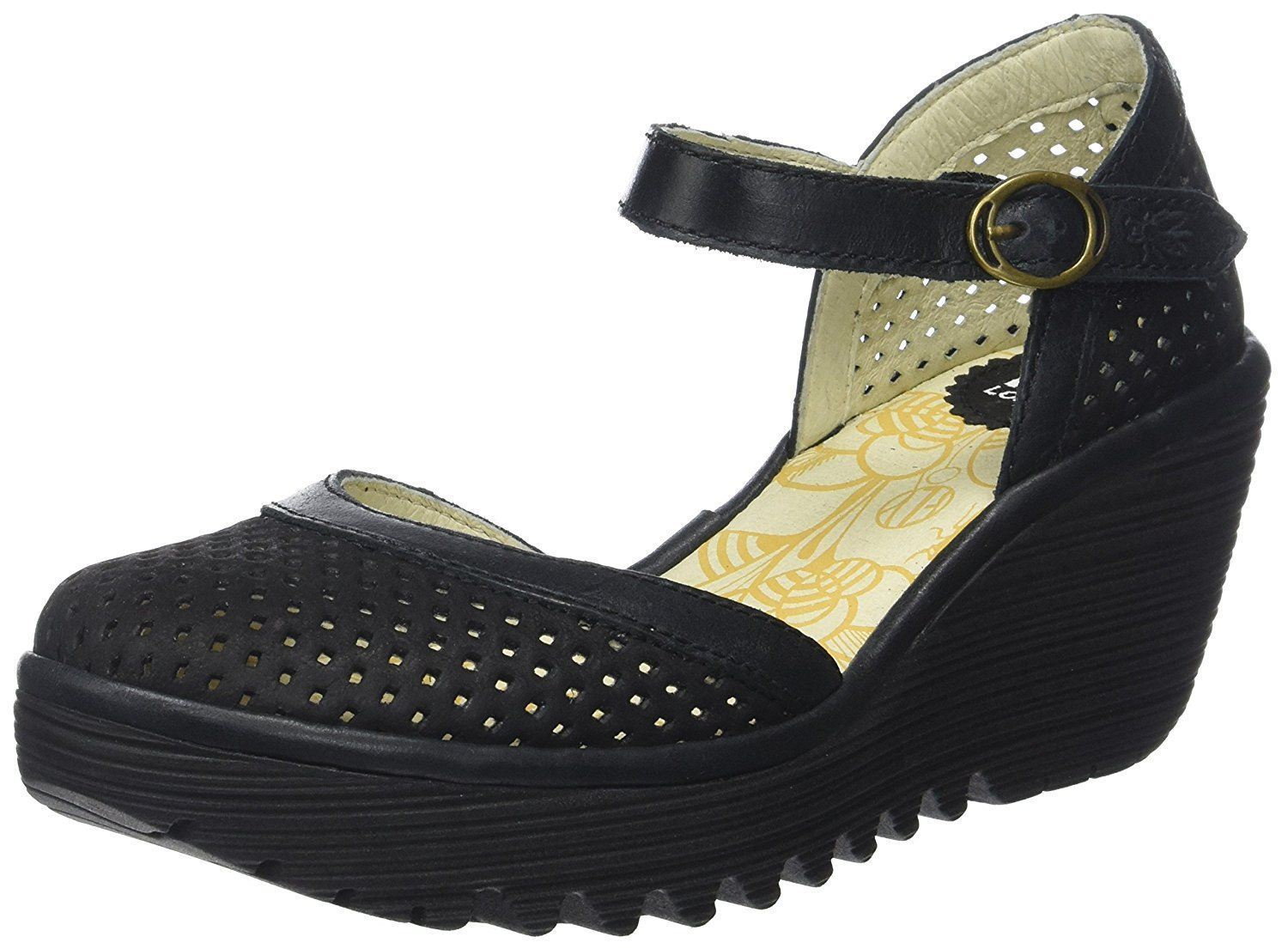 9bffd352253 Fly london Yupi840fly Black Womens Leather Wedge Sandals Shoes Quick View