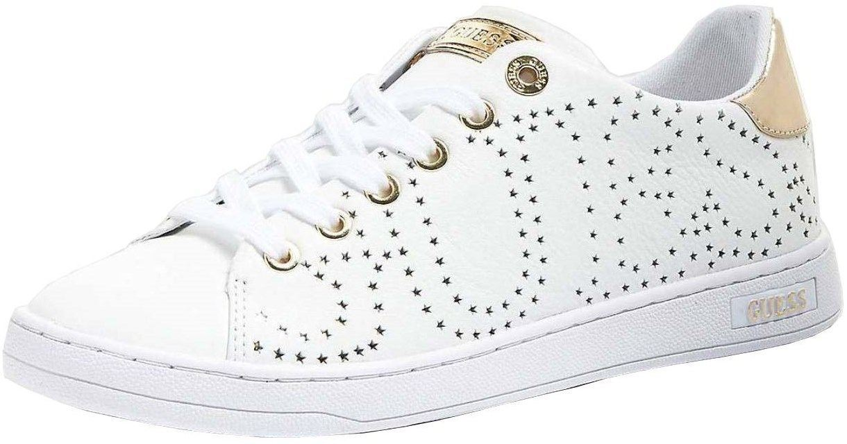a341efcb2f6c Guess Carterr 2 White Gold Womens Leather Trainers Shoes Quick View
