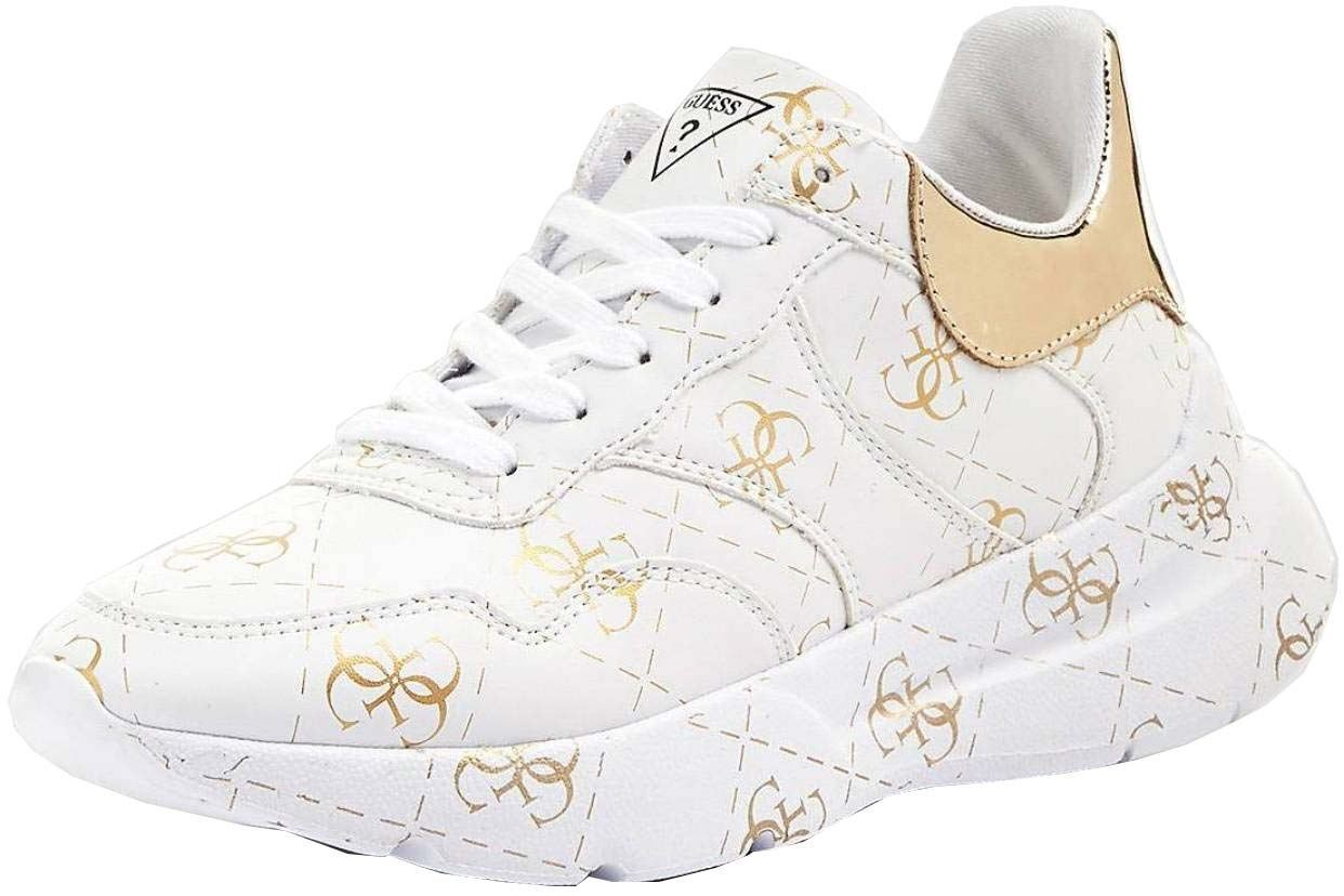 d9a925e4ceea Guess Mayla White Gold Womens Leather Trainers Shoes Quick View