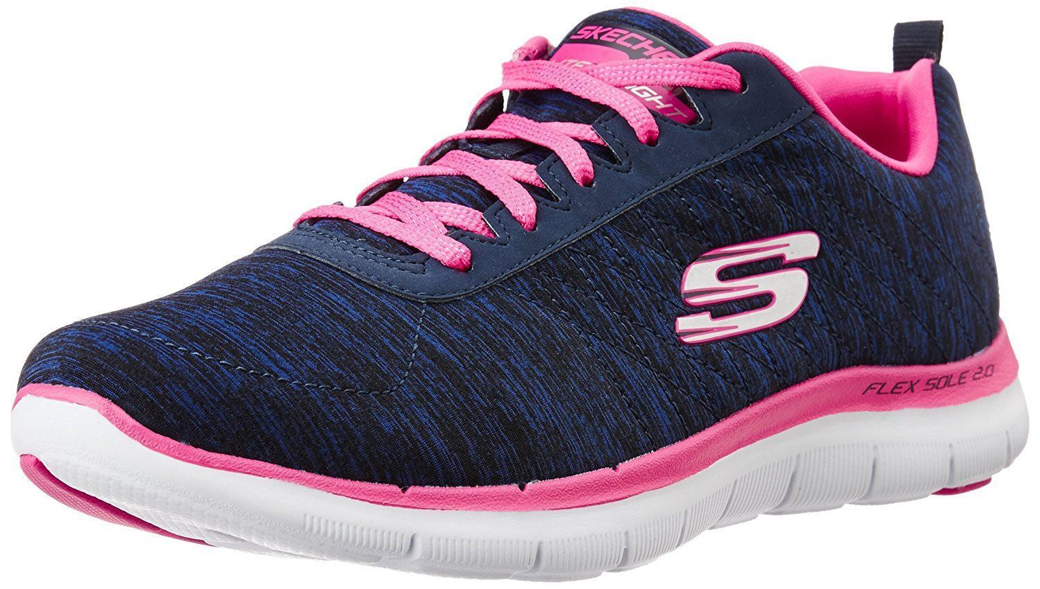 0415950415 Skechers Flex Appeal 2.0 Navy Pink Womens Trainers Shoes Quick View