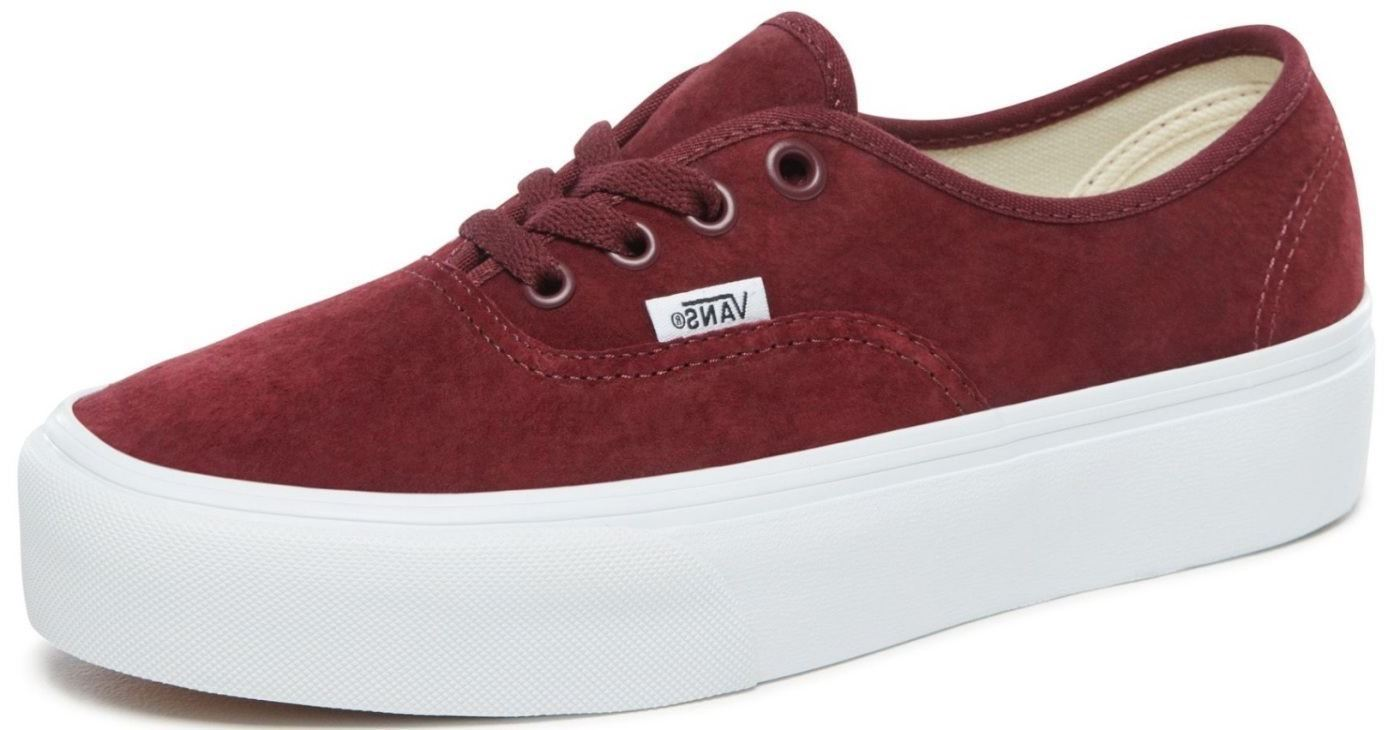 a270c322652 Vans Authentic Platform 2.0 Maroon White Womens Suede Trainers Quick View