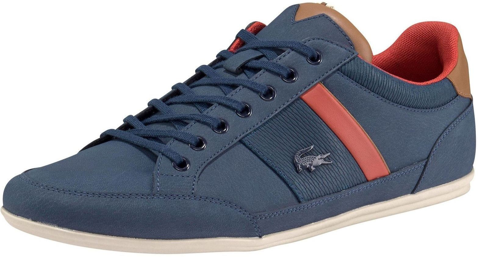 0485c0399 Lacoste Chaymon 318 Navy Brown Leather Mens Trainers Shoes Quick View