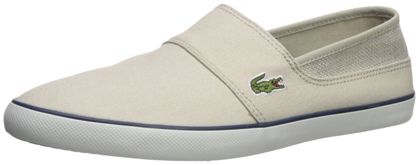 755ce176bbad50 Lacoste Marice 218 Beige Navy Canvas Mens Slip-ons Shoes Quick View